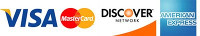 Mastercard, Visa, American Express and Discover accepted