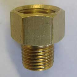 "1/4"" NPT male to 5/8"" x 18 female SAE  - brass adaptor"